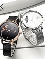 cheap -Shengke Women Fashion Watch Creative Lady Casual Watches Stainless Steel Mesh Band Stylish Desgin Silver Quartz Watch for Female