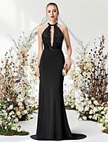 cheap -Mermaid / Trumpet Empire Elegant Engagement Prom Dress Halter Neck Sleeveless Sweep / Brush Train Chiffon with Beading 2021