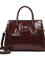 cheap -Women's Bags PU Leather Patent Leather Tote Crossbody Bag Top Handle Bag Zipper Solid Color Crocodile Vintage Daily Outdoor Retro Leather Bag Handbags Blue Black Red Brown