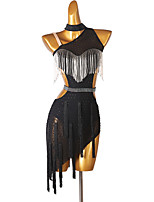 cheap -Latin Dance Dress Tassel Crystals / Rhinestones Women's Training Performance Sleeveless Chinlon Mesh