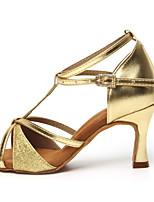 cheap -Women's Latin Shoes Heel Buckle Cuban Heel Open Toe Silver Gold Black Buckle Adults'