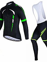 cheap -cycling jerseys long sleeve,men's long-sleeved plus velvet cycling jersey suit, cycling jersey with gel cotton bib pants, warm wool windproof cycling jersey set for autumn and winter-green_xl