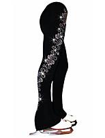 cheap -Figure Skating Pants Women's Girls' Ice Skating Tights Leggings Black Flower Spandex High Elasticity Training Competition Skating Wear Crystal / Rhinestone Ice Skating Figure Skating / Kids