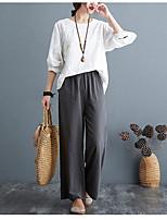 cheap -Women's Casual Soft Comfort Straight Chinos Casual Weekend Pants Plain Full Length Wide Leg Elastic Waist Gray Green Orange White Black
