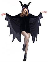 cheap -Bat Cosplay Costume Adults' Women's Halloween Halloween Festival Halloween Festival / Holiday Terylene Black Women's Easy Carnival Costumes Solid Color / Dress / Headwear