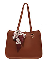 cheap -Women's Bags PU Leather Tote Top Handle Bag Bowknot Zipper Plain Solid Color Daily Outdoor Retro Leather Bag Tote White Black Brown Coffee