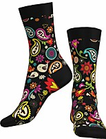 cheap -Socks Cycling Socks Men's Women's Bike / Cycling Breathable Soft Comfortable 1 Pair Paisley Cotton Black S M L / Stretchy