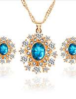 cheap -Women's Bridal Jewelry Sets Geometrical Precious Fashion Gold Plated Earrings Jewelry Blue For Christmas Party Wedding Gift Festival 1 set