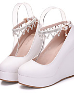 cheap -Women's Wedding Shoes Wedge Heel Round Toe Daily Office Faux Leather Rhinestone Solid Colored White Black