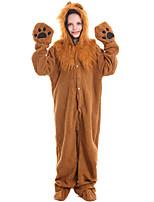 cheap -Kid's Kigurumi Pajamas Nightwear Lion Onesie Pajamas Flannelette Brown Cosplay For Boys and Girls Animal Sleepwear Cartoon Festival / Holiday Costumes