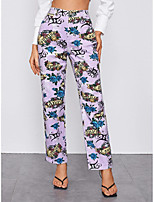 cheap -Women's Fashion Streetwear Comfort Chinos Casual Weekend Pants Flower / Floral Ankle-Length Print Purple