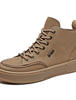 cheap -Men's Sneakers Casual Classic Daily Faux Leather Khaki Green Black Fall Winter