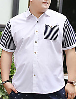 cheap -Men's Shirt Stripes Patchwork Plus Size Formal Style Classic Short Sleeve Business Tops Sports & Outdoors Ordinary Modern Style White