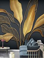 cheap -Mural Wallpaper Wall Sticker Custom Self-adhesive Dazzling golden banana leaves PVC / Vinyl Suitable For Living Room Bedroom Restaurant Hotel Wall Decoration Art  Home Decor