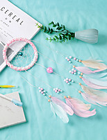 cheap -Indian pink feather Dream catcher birthday gift Handmade wind chimes pendant Dream catcher bedroom ornament