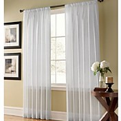 (Two Panels) Solid Contemporary White Sheer Curtain