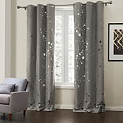 (Two Panels) Modern Beautiful Galaxy Hollow Out Energy Saving Curtain