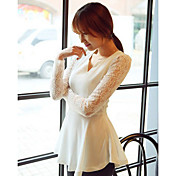 Women's V Neck Lace Sleeve Ruffle Hem Blouse
