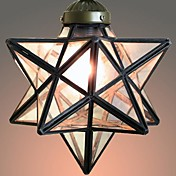 40W Mediterranean-style Tiffany Five-pointed star shape Transparent glass Tiffany Pendant Lights - 1 Light