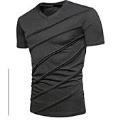 Herrn Solide T-shirt, V-Ausschnitt Schwarz