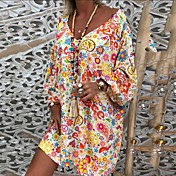 Women's Tunic Dress - Floral Rainbow Frui...