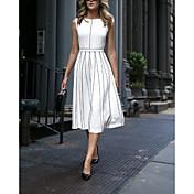 Women's Elegant A Line Dress - Striped Wh...