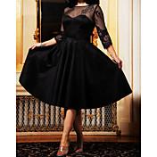 Damen A-Linie Kleid Solide Midi