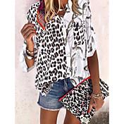 Damen Leopard Hemd Schwarz