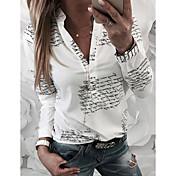 Damen Buchstabe T-shirt, V-Ausschnitt Weiß