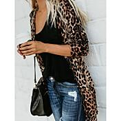 Damen Leopard Langarm Strickjacke Pullove...