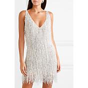 Damen Elegant Hülle Kleid - Quaste, Solid...