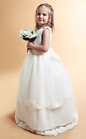 A-line Jewel Floor-length Satin Flower Girl Dress