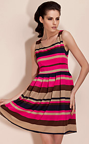 Ts contrast color print swing dress