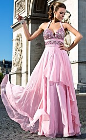 A-line Sweetheart Halter Floor-length Chiffon Evening Dresses
