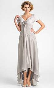 A-line V-neck Asymmetrical Lace And Chiffon Mother of the Bride Dress