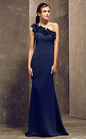 Sheath/Column One Shoulder Floor-length Chiffon Bridesmaid Dress (722125)