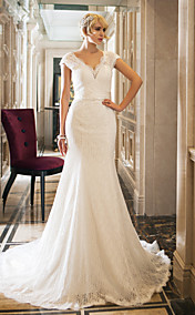Trumpet/Mermaid Queen Anne Court Train Lace And Stretch Satin Wedding Dress (632806)