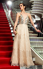 A-line Spaghetti Straps Floor-length Organza And Lace Evening Dress inspired by Claire Danes at Emmy