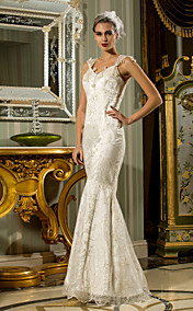 Trumpet/Mermaid Queen Anne Floor-length Lace Wedding Dress