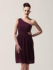 cheap -Sheath / Column One Shoulder Knee Length Chiffon Bridesmaid Dress with Pleats / Side Draping