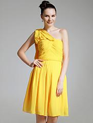cheap -Sheath / Column One Shoulder Knee Length Chiffon Bridesmaid Dress with Criss Cross / Pleats