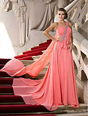 cheap -A-Line Elegant Pink Engagement Formal Evening Dress One Shoulder Sleeveless Court Train Chiffon with Crystals Draping 2020