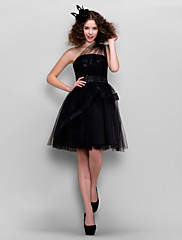 cheap -Back To School Ball Gown Little Black Dress Homecoming Cocktail Party Prom Dress One Shoulder Sleeveless Knee Length Tulle with Lace Sequin 2020 Hoco Dress