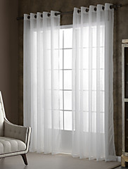 cheap -Sheer Curtains Shades One Panels Bedroom Solid Colored Polyester Embossed