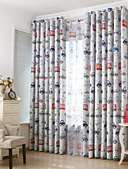 cheap -Blackout Curtains Drapes Two Panels Bedroom Cartoon Polyester Print & Jacquard