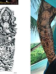 abordables -1/4/8 pcs Tatuajes Adhesivos Los tatuajes temporales Rosas / Calavera / Flor Impermeable / Non Toxic / Talla Grande Artes de cuerpo