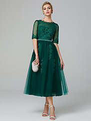 cheap -A-Line Sparkle Green Wedding Guest Formal Evening Dress Illusion Neck Sleeveless Tea Length Lace Over Tulle with Sequin Appliques 2020