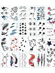 abordables -30 pcs Tatuajes Adhesivos Los tatuajes temporales Series de Tótem / Series de Animal / Series de Flor Artes de cuerpo brazo