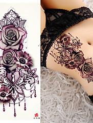 abordables -3 piezas tatuajes temporales tatuajes de rosas diseños de tatuajes tendencia pegatina lisa resistente al agua / brachium de seguridad / tarjeta de hombro papertattoo pegatinas para el cuerpo para muje