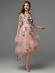cheap -Back To School A-Line Floral Pink Wedding Guest Cocktail Party Dress Off Shoulder Half Sleeve Asymmetrical Satin Tulle with Embroidery Appliques 2020 Hoco Dress